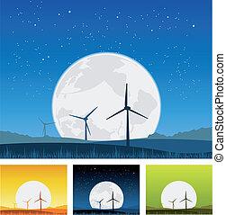 Windmills inside Landscape at Night