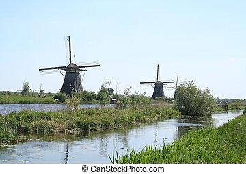 Windmills of Kinderdijk in Holland - Netherlands,South...