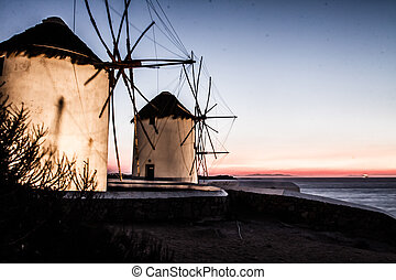 Windmills of Mykonos (Greece, Cyclades) ( HDR image )