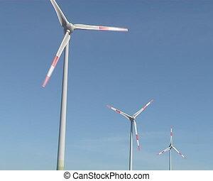 Windmills rotating in wind