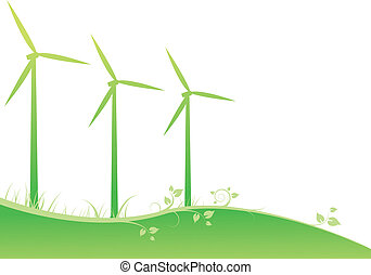 windmills with a green ornament
