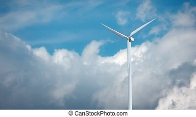 Windmills with blue sky in background 3d rendering