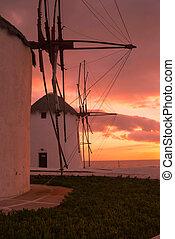 windmolen, beroemd, mykonos, ondergaande zon