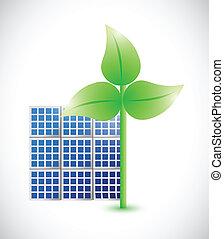 windmolen, eco, zonne, illustratie, paneel