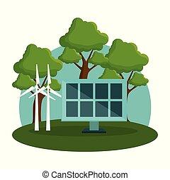 windmolen, energie, alternatieven, zonnepaneel