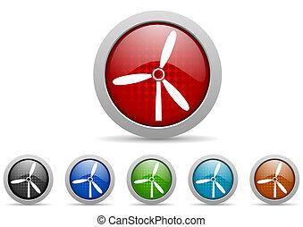 windmolen, glanzend, web beelden, set, op wit, achtergrond
