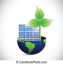 windmolen, globe, eco, illustratie, zonnepaneel