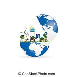 windmolen, globe, zonne, illustratie, paneel