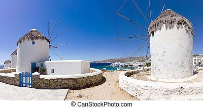 windmolen, griekenland, mykonos