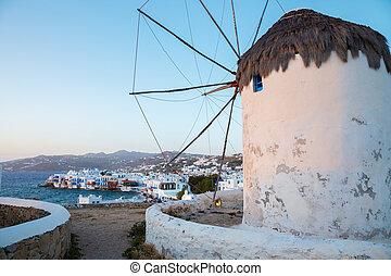 windmolen, griekenland, ondergaande zon , mykonos