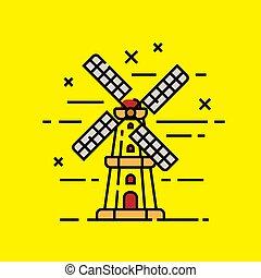 windmolen, holand, lijn, pictogram