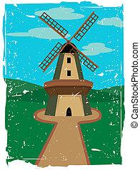windmolen, in, vrijstaand, in het platteland