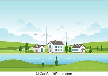 windmolen, landgoed, huisvesting, moderne, -, illustratie, vector, rivier