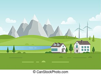 windmolen, landgoed, huisvesting, moderne, -, meer, illustratie, vector