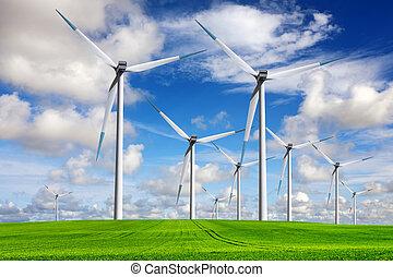 windmolen, lente, landscape