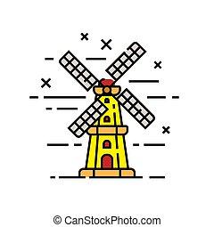 windmolen, lijn, holland, pictogram