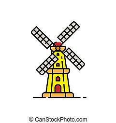 windmolen, lijn, hollandse, pictogram