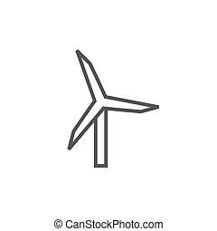 windmolen, lijn, icon.