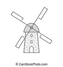windmolen, lijn, symbool, pictogram