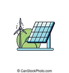 windmolen, macht, energie, lucht, zonnepaneel