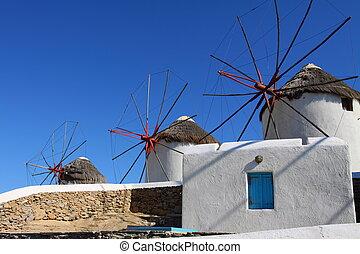 windmolen, mykonos, zonnig, cyclades), (greece