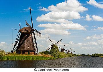 windmolen, nederland, kinderdijk, landscape