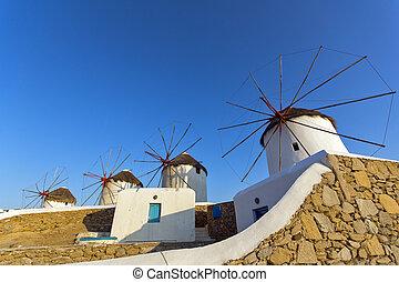 windmolen, ondergaande zon , mykonos, witte