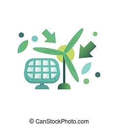 windmolen, paneel, zonnekracht, illustratie, vector, groene achtergrond, alternatief, witte , vernieuwbaar