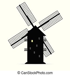 windmolen, silhouette, licht, een, venster, vector