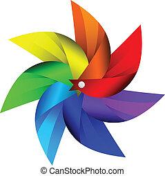 windmolen, speelbal, vector, illustratie