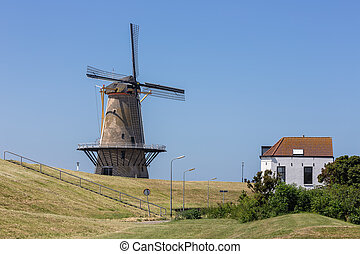 windmolen, traditionele , dijk, vlissingen, hollandse