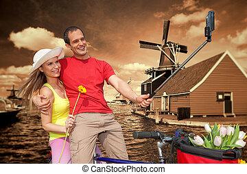 windmolen, zaanse, selfie, schans, paar, tegen, amsterdam, boeiend