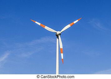 windmolen, zomer, energie, deduceert, breeze.