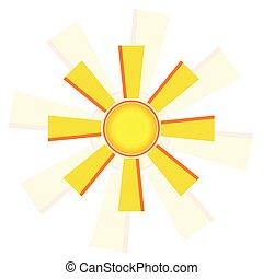 windmolen, zon, vector, illustratie