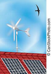 windmolen, zonnepaneel