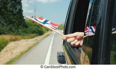 window., флаг, норвегия, путешествовать, концепция, рука, автомобиль, скандинавия