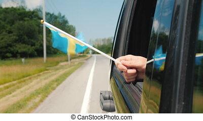 window., флаг, путешествовать, концепция, швеция, рука, автомобиль, скандинавия