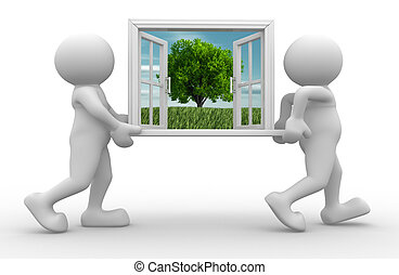 Window - 3d people - human character, person with a open...
