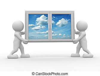 3d people icon carrying a window - This is a 3d render illustration