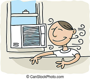 A cartoon man enjoys the breeze from a window air conditioner.