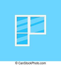 Window and balcony door vector icon on blue background