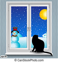 window and cat winter