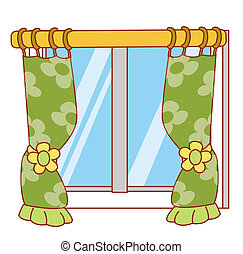 window and curtain - beautiful green curtain hanging on a...