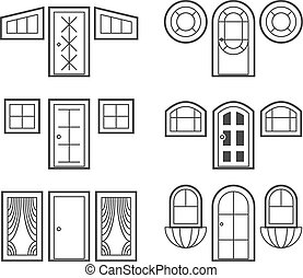 Window and door icons set