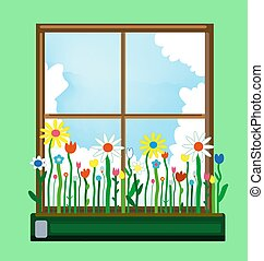 Window and flower box in spring