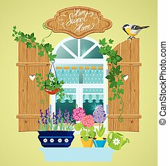 Window and flowers in pots, tomtit bird and handwritten text Hom