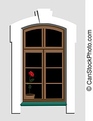 Window and rose - Window of old building and red rose in pot