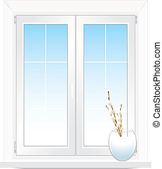 Window and vase with willow branch