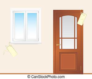 Window and wooden door