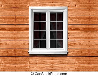 window and wooden wall